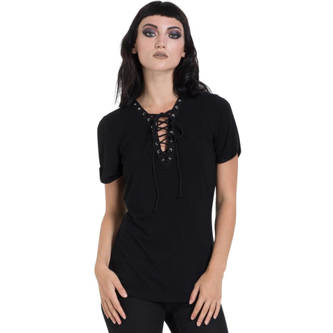 Women's Jawbreaker Laced Up Fashion Top Black Goth