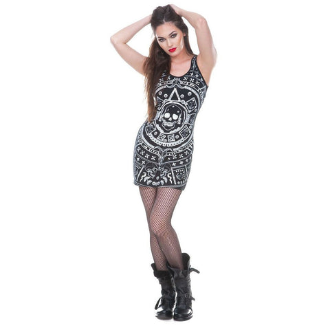 Women's Jawbreaker Mayan Skulls Calendar Body Con Dress Black Skulls Punk
