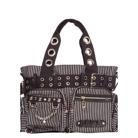 Jawbreaker Multi Pocket Tote Bag With Grommet Detail White Studs Stripes Punk
