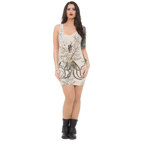 Women's Jawbreaker Sea Witch Body Con Dress Beige Skull Octopus Victorian Corset