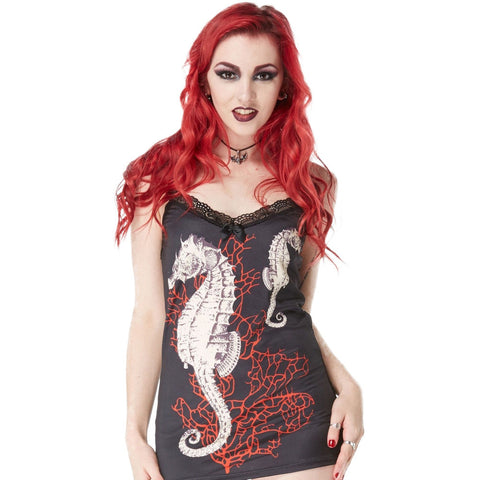 Women's Jawbreaker Seahorse And Coral Cami Top With Skull Lace Back Nautical