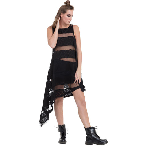 Jawbreaker Skull Knit And Mesh Group Dress Black Goth Punk
