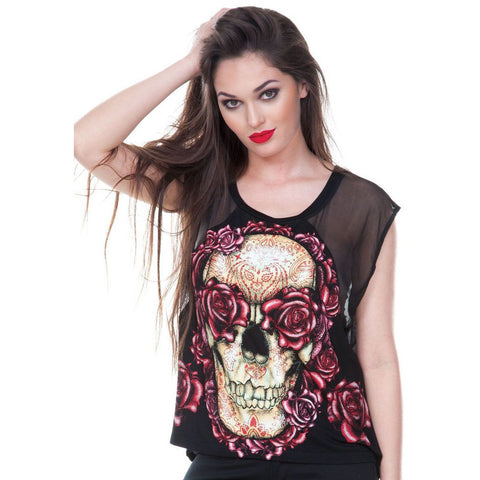Women's Jawbreaker Skulls And Roses Fashion Top Black Occult Symbols Punk Goth