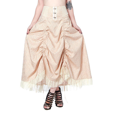 Women's Jawbreaker Steampunk Brocade Adjustable Hemline Skirt Cream