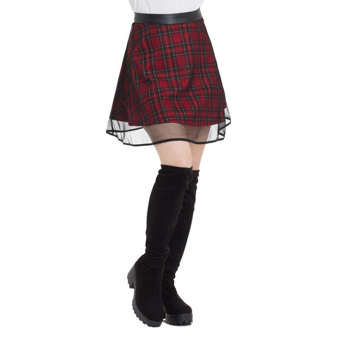 Jawbreaker Tartan Two Layer Mesh Skirt Red Plaid Punk