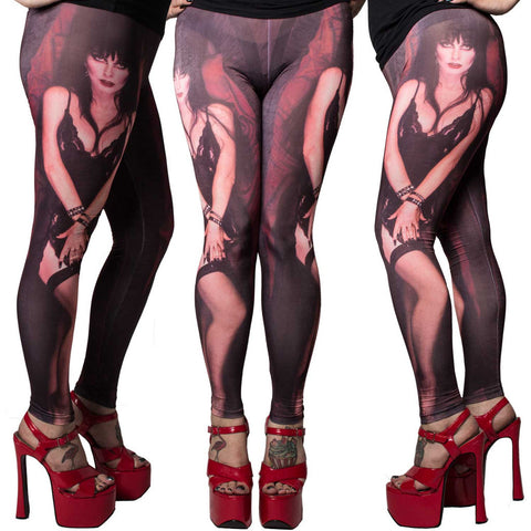 Women's Kreepsville 666 Elvira My Coffin Leggings Mistress of the Dark Horror