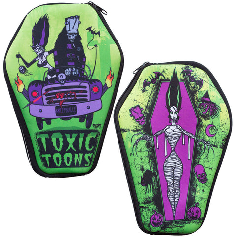 Women's Kreepsville Toxic Toons Coffin Pouch Frankenstein Bride Coffin Horror