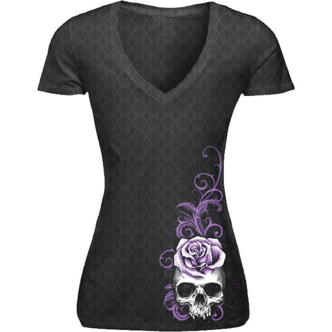 Women's Lethal Angel Corset Winged Skull Classic Burnout T-Shirt Black Punk