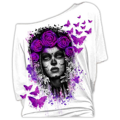 Women's Lethal Angel DOTD Butterflies Off the Shoulder Top White Day of the Dead