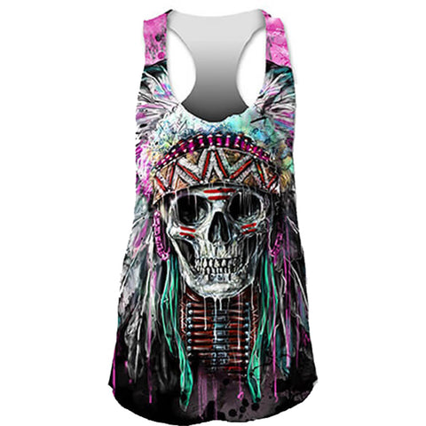 Womens Lethal Angel Feathers N Arrows Sublimation Tank Top Black Native American