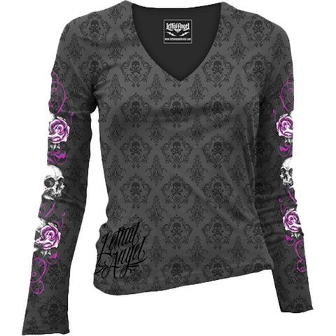 Women's Lethal Angel Floral Skull Long Sleeve Burnout T-Shirt Charcoal Punk