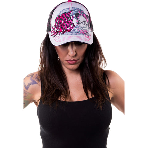 Women's Lethal Angel Girl Skull Hat Bows Pigtails Wings