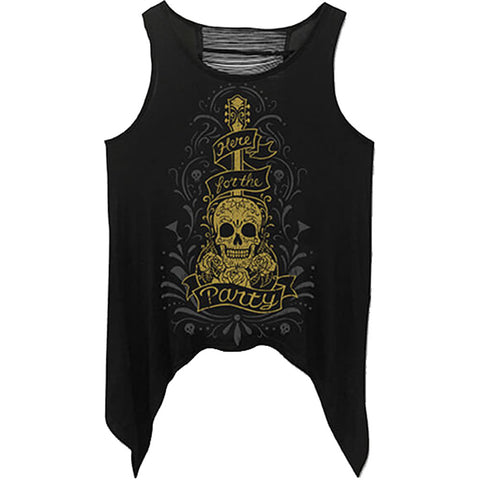 Women's Lethal Angel Here For The Party Loose Tank Top Black Day of the Dead