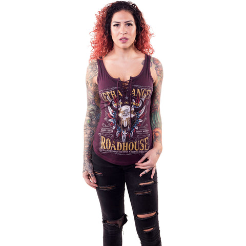 Women's Lethal Angel Lethal Angel Roadhouse Lace Up Tank Top Bull Skull
