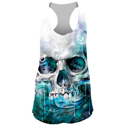 Women's Lethal Angel Ocean Skull Sublimation Tank Top Turquoise/White Punk