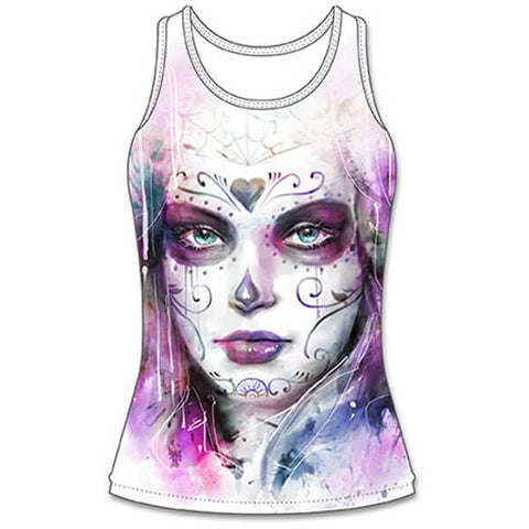 Womens Lethal Angel Painted Soul Sublimation Tank Top White Day of the Dead Girl