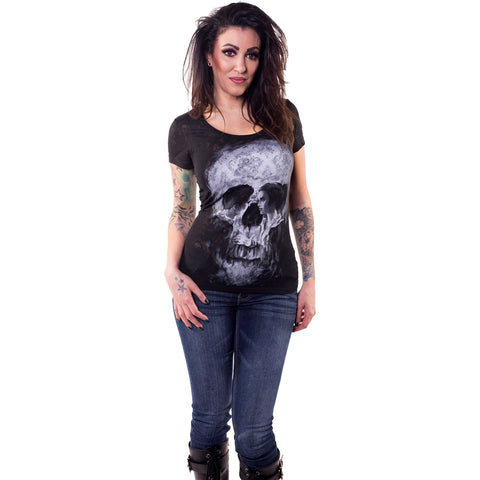 Women's Lethal Angel Skull Couple Burn Out Scoop Neck T-Shirt Damask