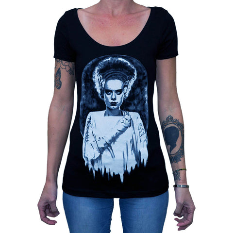 Women's Lowbrow Art Monsters Bride Scoop Neck T-Shirt Black Frankenstein Horror