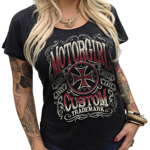 Women's MotorGirl Straight Shot Scoop Neck T-Shirt Black Iron Cross Car Lover