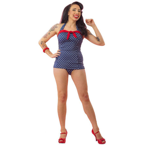 Women's Pinky Pinups Polka Dot One Piece Swimsuit Blue/White Retro Pinup