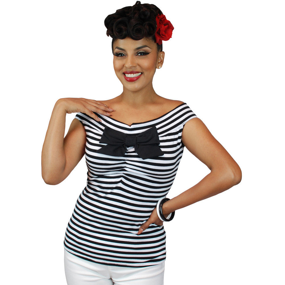 b8e411b631d8e6 Women s Pinky Pinups Striped Off Shoulder Sleeveless Top Black White  Rockabilly