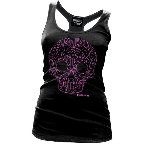 Women's Pinky Star Quilted Pink Sugar Skull Racerback Tank Top Day of the Dead