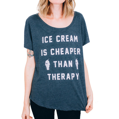 Women's Pyknic Ice Cream is Cheaper Than Therapy Dolman T-Shirt Heather Grey