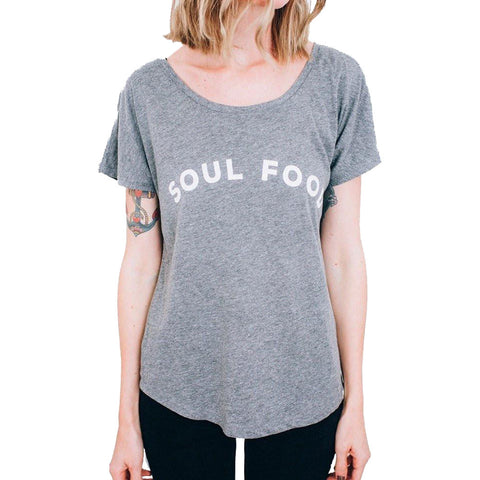 Women's Pyknic Soul Food Dolman T-Shirt Heather Grey Food Funny