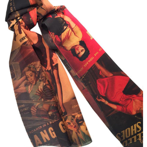 Women's Retro-a-go-go! Dangerous Dames Fashion Scarf Vintage Pin Up Rockabilly