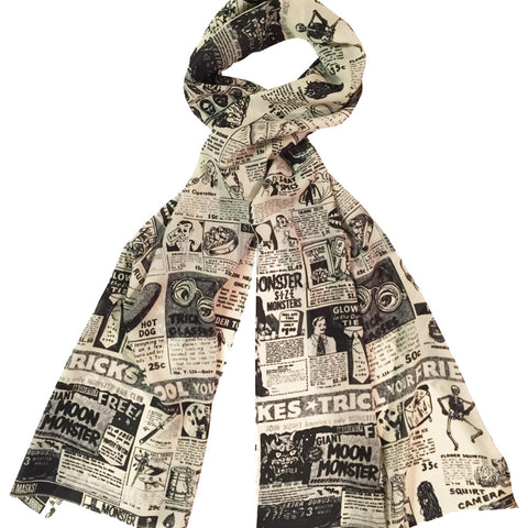 Women's Retro-a-go-go! Monster Magazine Ads Fashion Scarf Cream Vintage Retro