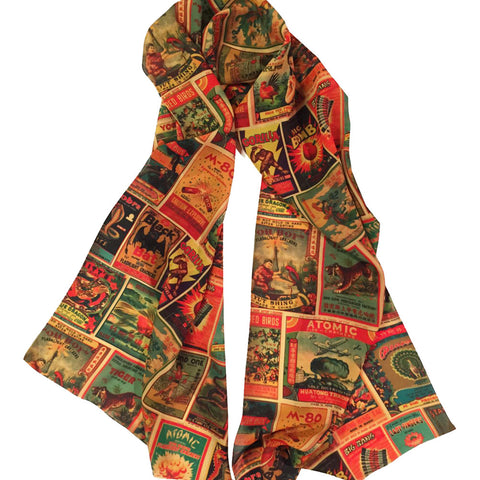 Women's Retro-a-go-go! Vintage Firework Labels Fashion Scarf Retro Rockabilly