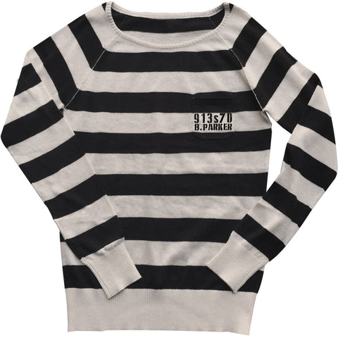 Women's Se7en Deadly Bonnie Parker Pullover Inmate Sweater Jail Prisoner Stripes