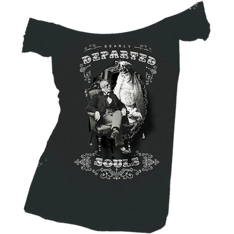 Women's Se7en Deadly Dearly Departed Raw Edge Off Shoulder T-Shirt Skeleton