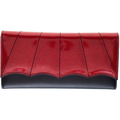 Women's Sourpuss Bat Wing Wallet Red Goth Psychobilly
