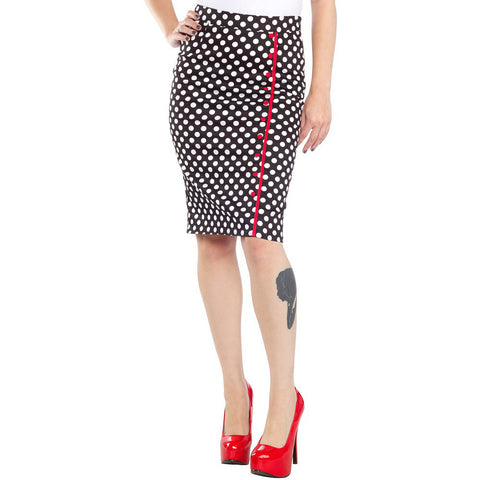 Women's Sourpuss Bombshell Skirt Polka Dot Retro Vintage Rockabilly Pinup
