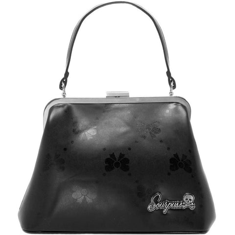 Women's Sourpuss Bow Print Betsy Purse Black Rockabilly Retro Vintage Pin Up