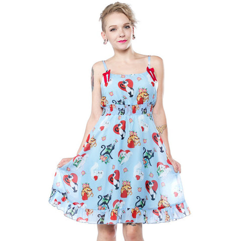Sourpuss Cat Lady Baby Doll Dress Blue Retro Rockabilly Cat Lover Kitty Hearts