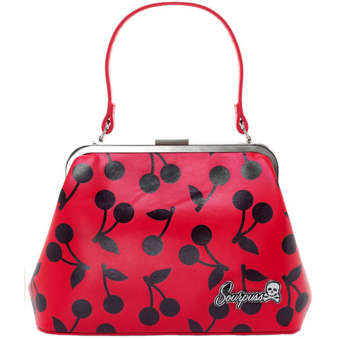 Women's Sourpuss Cherry Print Betsy Purse Red Rockabilly Retro Vintage Pin Up