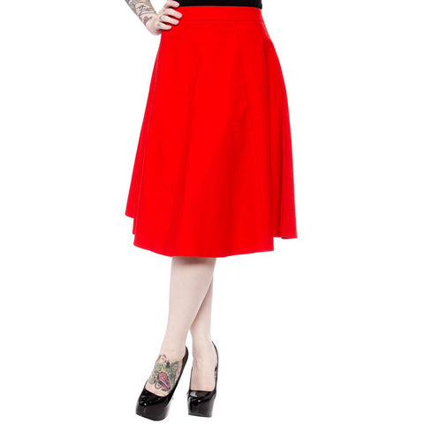 Sourpuss Donna Skirt Red Retro Vintage Rockabilly Pin Up