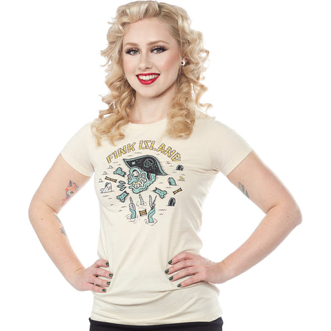 Women's Sourpuss Fink Island T-Shirt Cream Monster Zombie Pirate Nautical