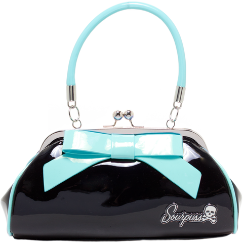 Sourpuss Floozy Purse Black With Light Blue Bow