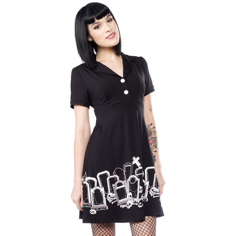Sourpuss Grave Digger Rosie Dress Black Goth Rockabilly Psychobilly Punk