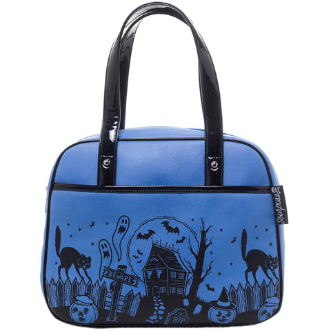 Sourpuss Haunted House Bowler Purse Blue Tombstones Goth Psychobilly Halloween