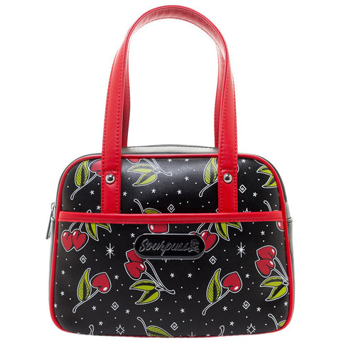 Sourpuss Love Cherries Mini Bowler Purse Black