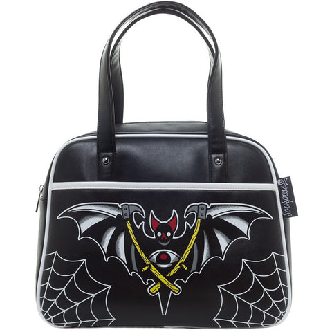 Sourpuss Night Bat Bowler Purse Black Spiderweb Goth Punk Psychobilly