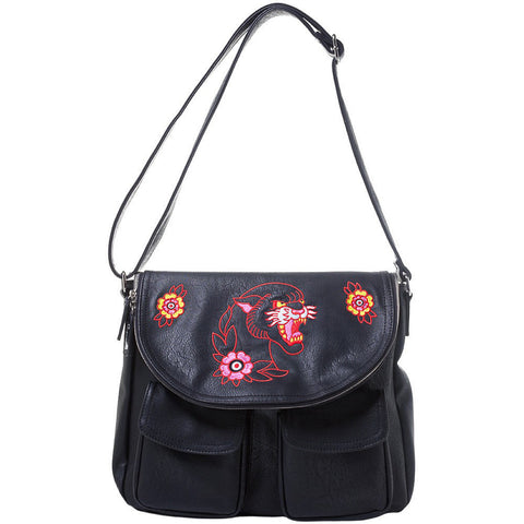 Women's Sourpuss Panther Nomad Purse Black Neo Traditional Tattoo Flash