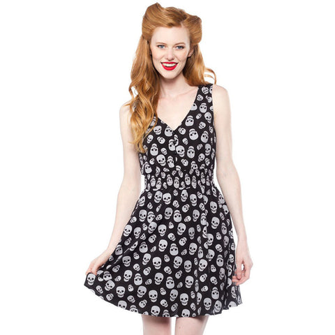 Sourpuss Skulls Gauzy Dress Black Goth Punk Psychobilly