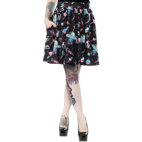 Sourpuss Space Babes Skirt Black/Turquoise Retro Sci-Fi Rockabilly Vintage