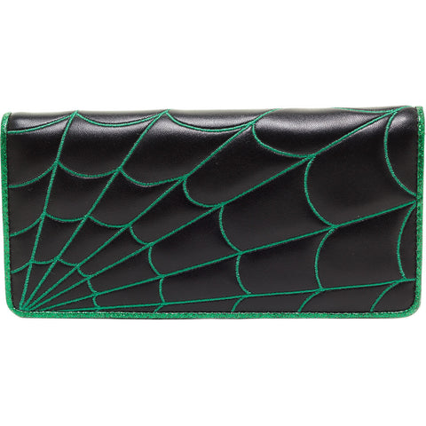 Women's Sourpuss Spiderweb Wallet Green Goth Punk Psychobilly