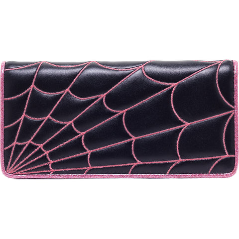 Women's Sourpuss Spiderweb Wallet Pink Goth Punk Psychobilly